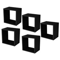 Kit 05 Nichos Quadrado Decorativo 31x31x15 Preto Fosco - Lyam Decor