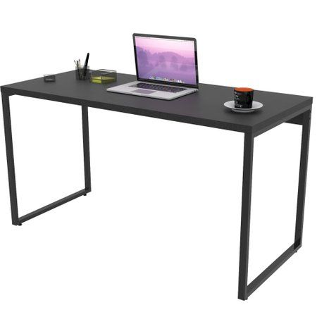 Kit 02 Mesas Para Escritório Home Office Estilo Industrial Form 135 cm Preto Onix - Lyam Decor