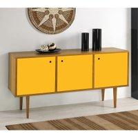 Balcão Buffet 3 Portas Vintage 353 Nogal/amarelo - Maxima