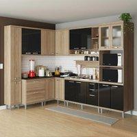 Cozinha Compacta 16 Portas 5 Gavetas Sicília 5802 Preto/argila - Multimóveis