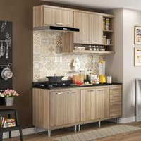 Cozinha Compacta 7 Portas Sicília Com Tampo 5811 Argila - Multimóveis