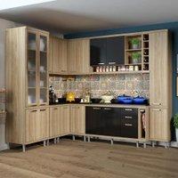 Cozinha Compacta 16 Portas Com Tampo E Vidro 5805 Preto/argila - Multimóveis