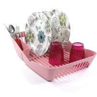Escorredor de Louças Para 10 Pratos Pia Cozinha Plástico - Rosa