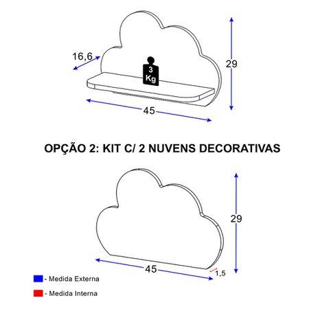Prateleira Decorativa Nuvens Azul - Multimóveis