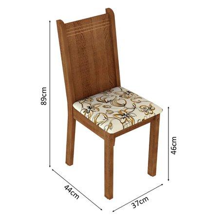 Kit 6 Cadeiras 4290 Madesa - Rustic/Lírio Bege