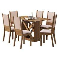 Conjunto para Sala de Jantar Madesa Moline Mesa com Tampo de Madeira com 6 Cadeiras