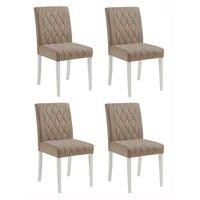 Conjunto 4 Cadeira Jantar Vega Matelasse Tecido Bege e Laca Branco Fino Moveis