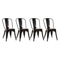 Conjunto Com 4 Cadeiras Industriais Fixas Decorativas Vintage - Aço - Anima Preto