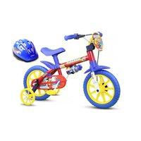 Bicicleta aro 12 Infantil Firemnam Nathor Com Capacete Azul