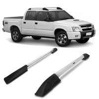 Longarina Rack de Teto Chevrolet S10 CD 2001 a 2011 Bepo Alumínio Polido Suporte 40KG