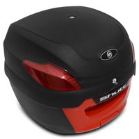 Baú Bauleto Moto 41 Litros Shutt Universal Preto e Vermelho Bagageiro Chave Base Fixação Refletres