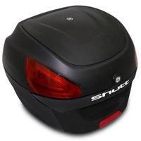 Baú Bauleto Moto 29 Litros Shutt Universal Preto Bagageiro Com Chave Base de Fixação Refletores