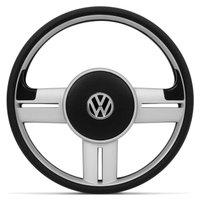 Volante Modelo Rallye Prata com 4 Emblemas Fiat GM VW Peugeot Universal Sem Cubo