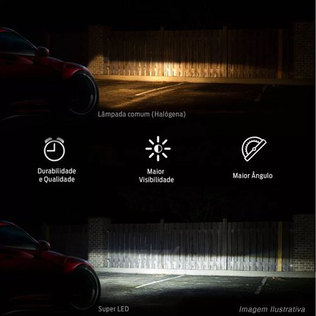 Kit Lâmpadas Super LED Headlight Astra 94 95 96 97 Farol Baixo Alto H4 e Milha H3 6000K Efeito Xênon