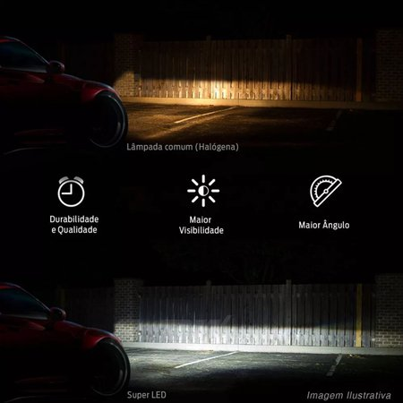 Kit Lâmpadas Super LED Headlight Ford Ranger 04 05 06 07 08 09 10 11 12 Farol de Milha HB4 6000K