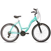 Bicicleta MTB Aro 26 Q18 Alumínio 21V Shimano Suspensão Sunset Mormaii Verde e Branco