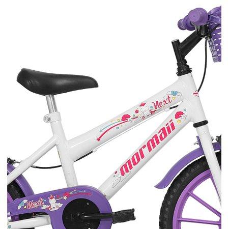 Bicicleta Aro 16 Infantil Feminina Next Branca com Cesta Mormaii