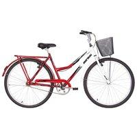 Bicicleta Aro 26 Q19,5 Freio FF com Cesta Soberana Mormaii - Vermelho e Branco