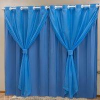 Cortina Blackout PVC c/ Voil Azul Corta Luz 2,80m X 2,30m
