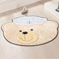 Tapete Infantil Premium Baby Formato Urso-Marinheiro Palha 78cm x 58cm