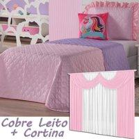 Kit Cobre Leito + Cortina Unicórnio Rosa Dupla Face Solteiro 04 Peças