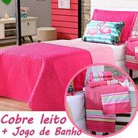 Kit Combo Cobre Leito + Jogo de Banho Flamingo Dupla Face c/ Almofada Solteiro 08 Peças
