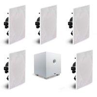 Conjunto de caixas de som para Home Theater AAT Compact HT 5.1 10 + 5 NQ6-M100 + Subwoofer CUBE 10 Branco
