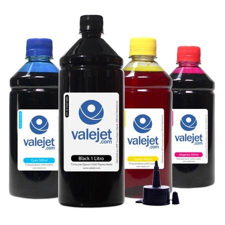Compatível: Kit 4 Tintas para Epson L656 Bulk Ink Black 1L Color 500ml Valejet