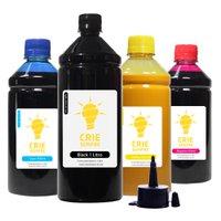 Compatível: Kit 4 Tintas para Epson L365 Pigmentada Black 1 Litro Coloridas 500ml