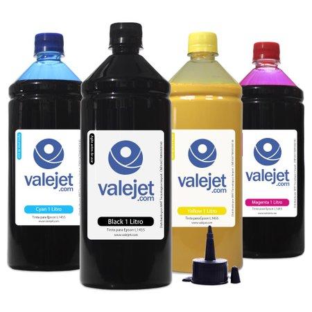 Compatível: Kit 4 Tintas para Epson L1455 EcoTank CMYK Pigmentada 1 Litro Valejet