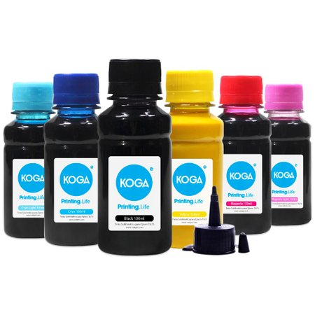 Compatível: Kit 6 Tintas Bulk Ink Sublimática para Epson T673 CMYK 100ml Koga