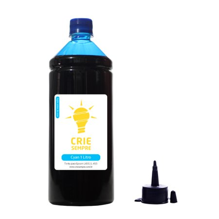 Compatível: Tinta para Epson L455 Premium Crie Sempre Cyan 1 Litro Corante