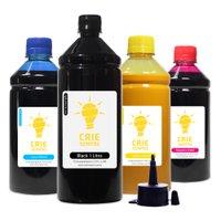 Compatível: Kit 4 Tintas para Epson L200 Pigmentada Black 1 Litro Coloridas 500ml