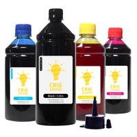 Compatível: Kit 4 Tintas para Epson L575 Premium Crie Sempre Black 1 Litro Coloridas 500ml Corante
