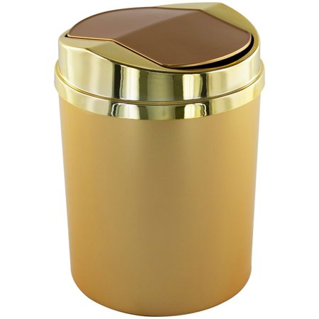 Lixeira Basculante Dourado Fosco 5 Litros Cozinha Escritório