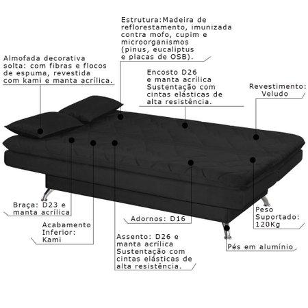 Sofá Cama Sala de Estar 193cm Belinda com Pés Alumínio Veludo Preto - Gran Belo