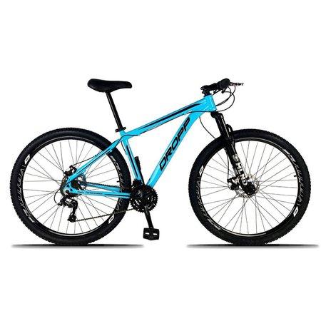 Bicicleta Aro 29 Freio a Disco Mecânico Quadro 15 Alumínio 21 Marchas Azul Preto - Dropp