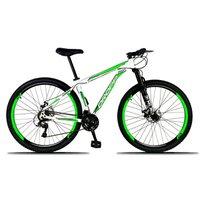 Bicicleta Aro 29 Freio a Disco Mecânico Quadro 15 Alumínio 21 Marchas Branco Verde - Dropp