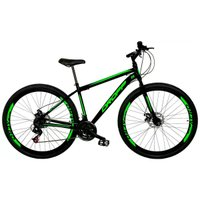 Bicicleta Aro 29 Freio a Disco Mecânico Quadro 17 Aço 21 Marchas Preto Verde - Dropp