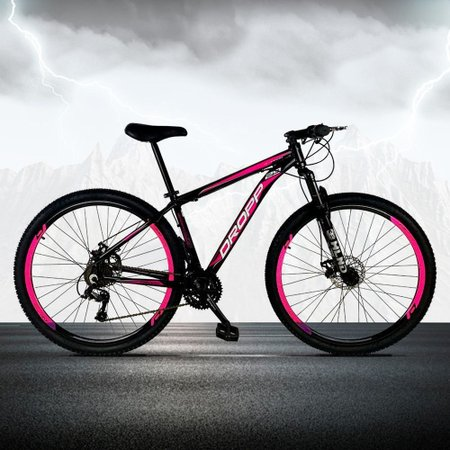 Bicicleta Aro 29 Freio a Disco Mecânico Quadro 17 Alumínio 21 Marchas Preto Rosa - Dropp