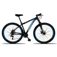 Bicicleta Aro 29 Freio a Disco Mecânico Quadro 19 Alumínio 21 Marchas Preto Azul - Dropp