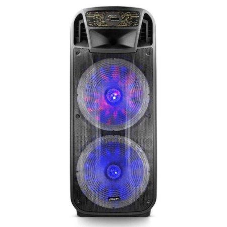 Caixa de Som Amplificada Multiuso Frahm CF 4000 1600W BT/USB/P2/P10/RCA Radio FM Preta Bivolt