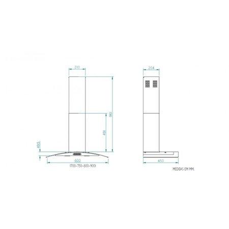 Coifa Parede Vidro Curvo Branca 4 e 5 Bocas 70cm - Nardelli 110V
