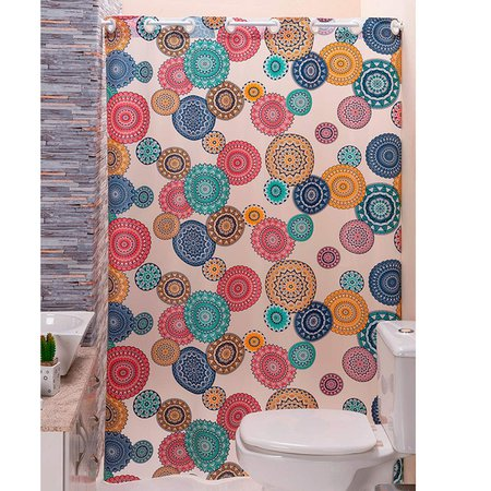 Cortina p/ Box de Banheiro Mandala Estampada 1,40m X 1,98m