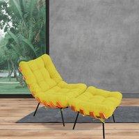 Poltrona Costela com Puff Sala de Estar Suede Amarelo - Lyam Decor
