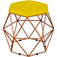 Puff Decorativo Aramado Bronze Six Suede Amarelo - Lyam Decor