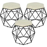 Kit 03 Puffs Decorativo Aramado Preto Six Suede Bege - Lyam Decor