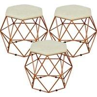 Kit 03 Puffs Decorativo Aramado Bronze Six Suede Bege - Lyam Decor
