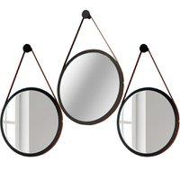 Kit 02 Espelhos Redondos Decorativo Adnet Alça de Couro 54 cm com 01 Espelho 67 cm Nix - Lyam Decor