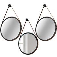 Kit 02 Espelhos Redondos Decorativo Adnet Alça de Couro 67 cm com 01 Espelho 54 cm Nix - Lyam Decor